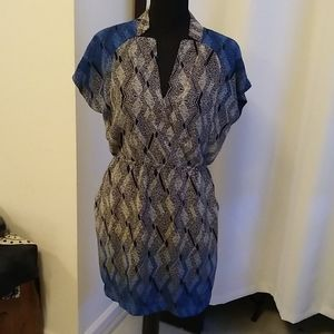 Blue and Grey Patterned mini dress